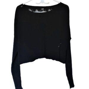FOX crop sweater black  knit crochet back large